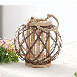Handheld/Hanging Candlestick Wicker Rope Woven Candle Holder