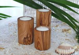 Handmade Olive Wood Candle Holder Trio / Three Wooden Tea Li