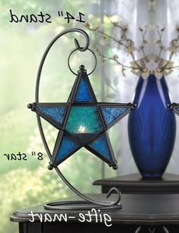 hanging BLUE Moroccan STAR Candle holder Lantern light outdo