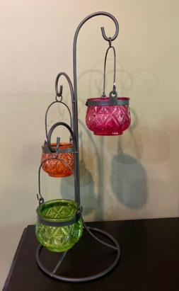 Hanging Candle Holder Stand 3 Tea Light Holders Multi-color