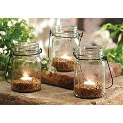3 Piece Hanging Mason Jar and Tealight Set
