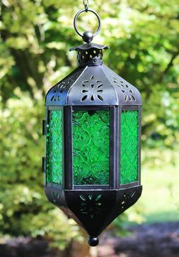 Hanging Moroccan Style Candle Lantern with Chain, Candle Hol