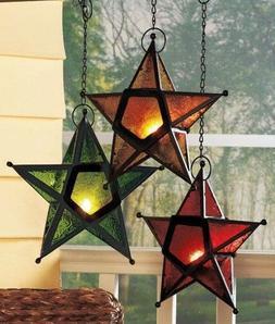 Hanging Star Candleholder Candle Holder Set of 3 Gold Green