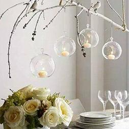 Sziqiqi 80MM Hanging Tealight Holder Glass Globes Terrarium