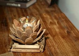 Best Candle Holder Handmade Lotus Vintage Wooden - Beautiful