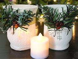 Christmas Candle Holders - Set of 2 White Glitter Votive Hol