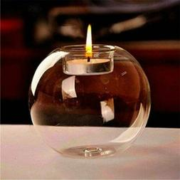 Home Round Crystal Glass Candle Holder Wedding Bar Party Din