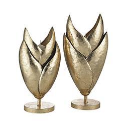 honeychaff candle holders gold leaf