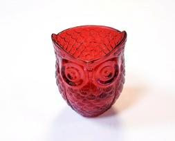 Hosley Red Cut Glass Owl Candle Holder Votive Tealight 3.5""