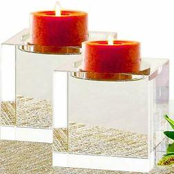 "Amazing Home Huge Crystal Pillar Candle Holders 4"",4"",4"" Set"