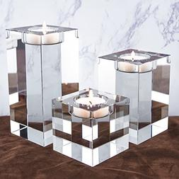 Amazing Home Huge and Heavy Crystal Candle Holders Set of 3,
