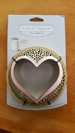 Yankee Candle Illuma-Lid Gold W/ Pink Heart ♡Jar Candle To