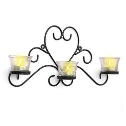 CraftVatika Iron Black Three Glass Cup Candle Holder | Tea L