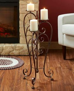 Iron Pillar Candle Stand Floor Candle Holder ScrollWork Desi