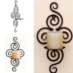 Iron Scroll Candle Holder Candlestick Wall Hanging Sconce Ho