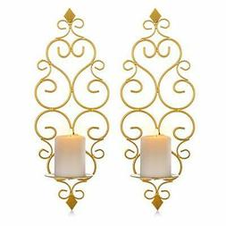 Sziqiqi Iron Wall Candle Sconce Holder Set of 2 Hanging Wall