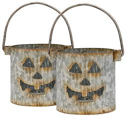 Jack-O'-Lantern Tin Galvanized Halloween Votive Holder - Set