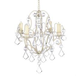 Jeweled Chandelier Candle Holder Ivory Wedding Hanging Decor