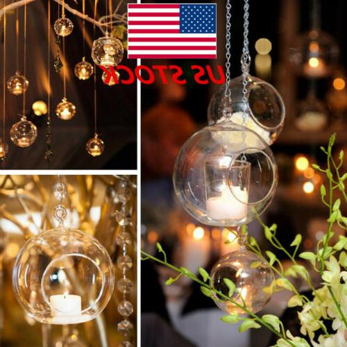 1 2pc crystal glass hanging candle holder