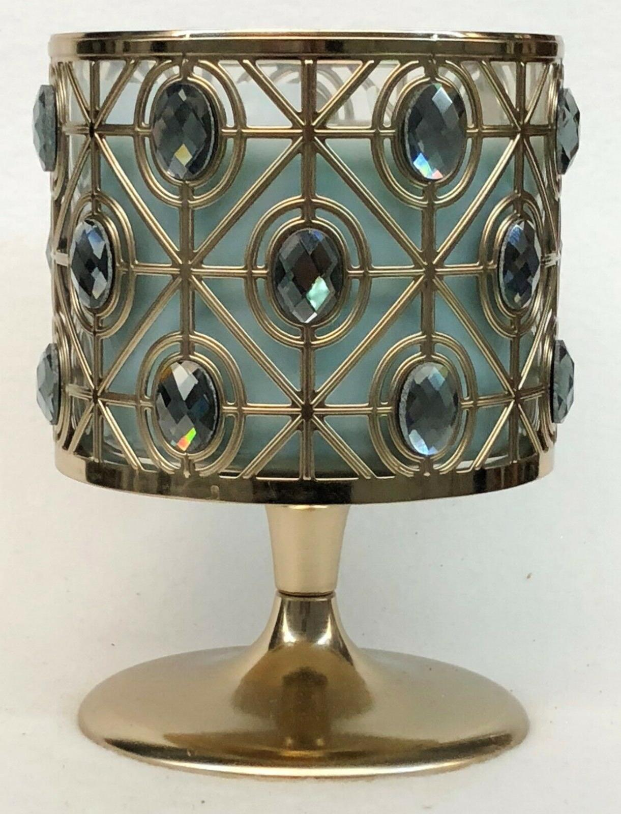 1 Bath BLUE GOLD PEDESTAL Large 3 Wick Holder Sleeve