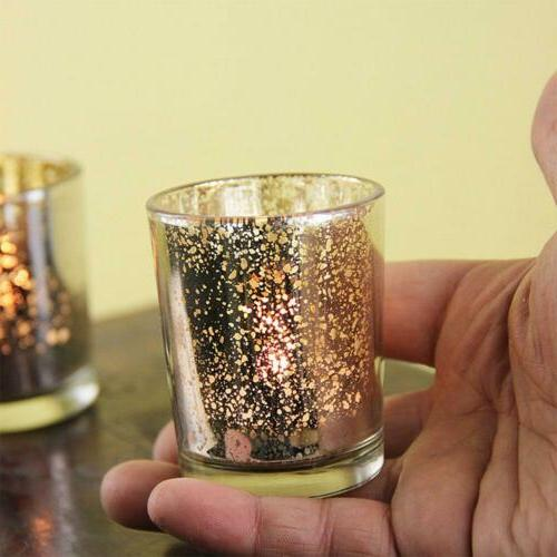 12 Pack Gold Glass Candle Event