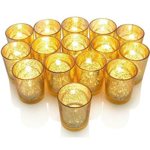 12 pack gold glass candle holder tealight