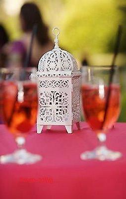 3 white scrollwork Lantern Candle holder wedding table centerpiece