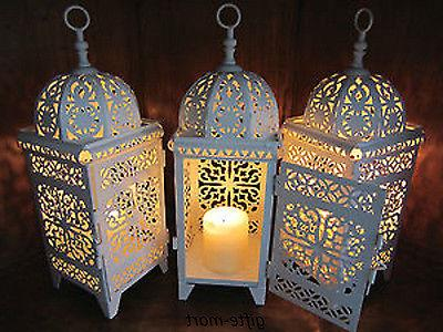 3 lot white moroccan scrollwork lantern candle