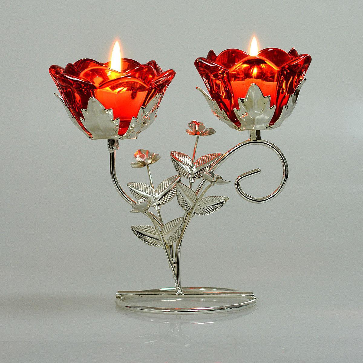 2 Flower Glass Tealight Holder Metal Stand Decor