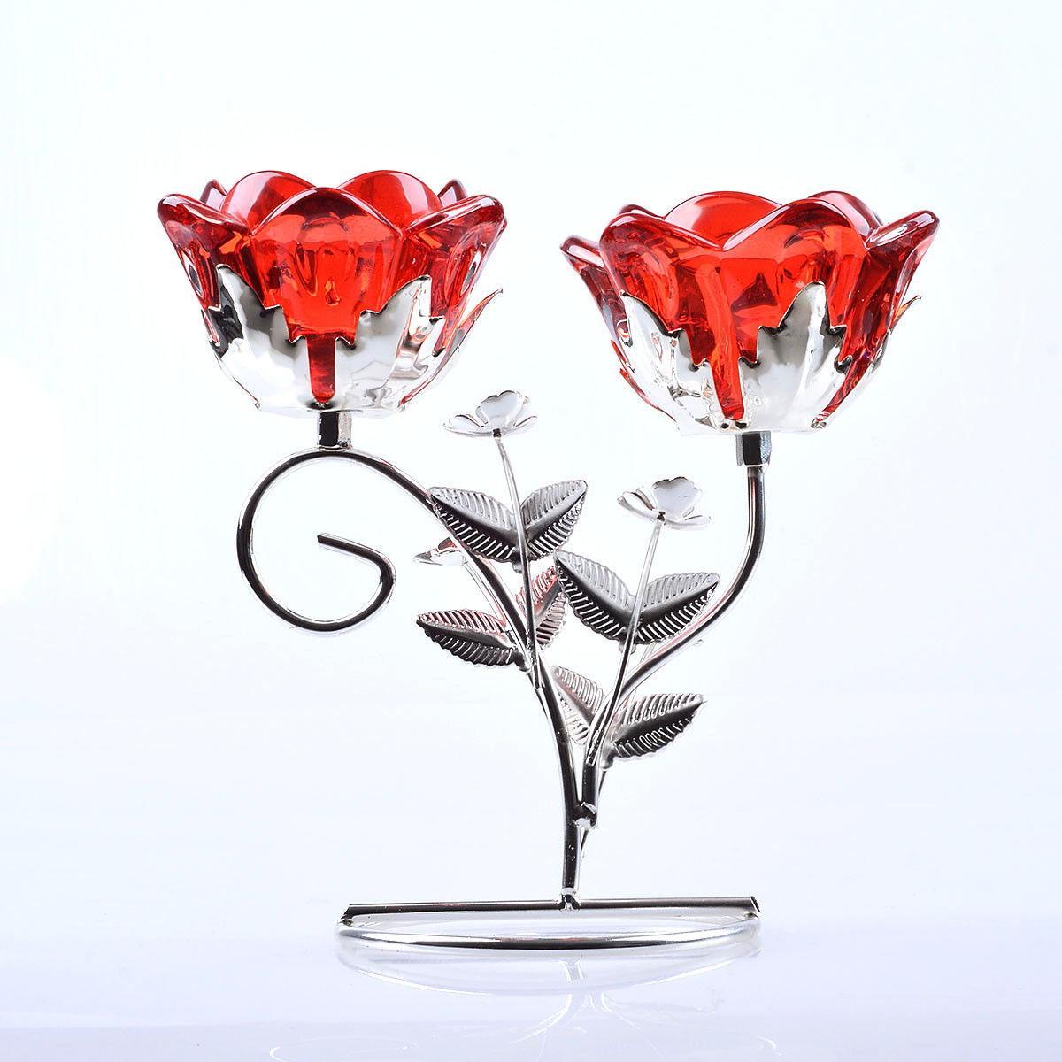 2 Glass Tealight Metal Home Decor