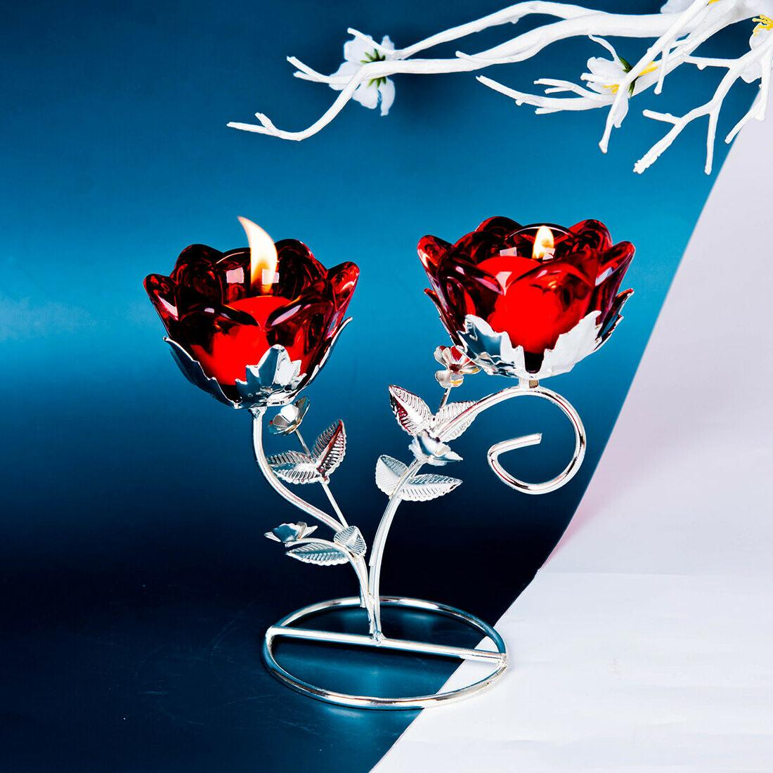 2 Arm Red Flower Glass Holder Candlestick Wedding