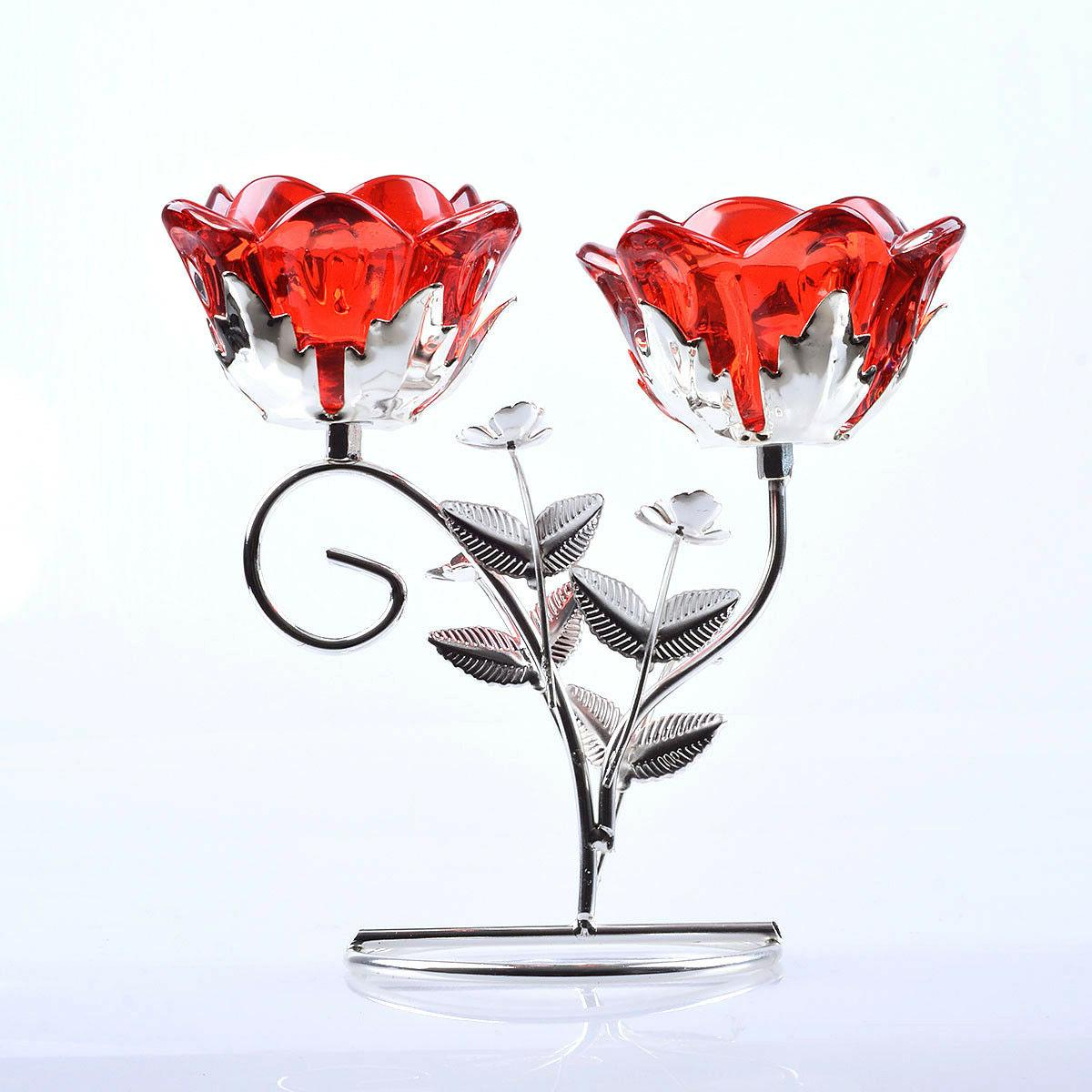 2 Arm Red Flower Glass Tealight Candle Holder Candlestick
