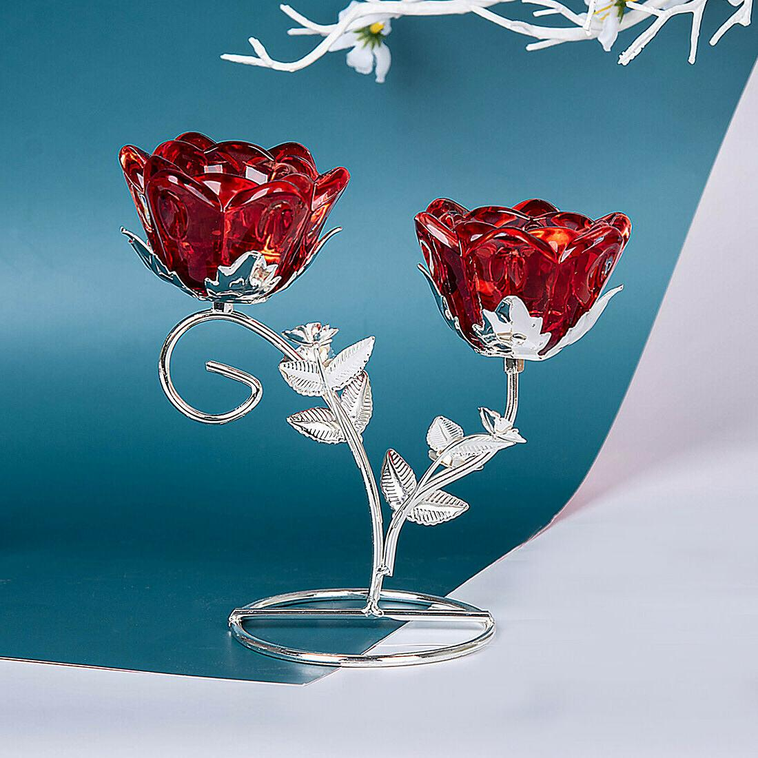 2 Arm Glass Candle Candlestick Table