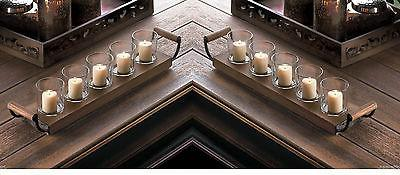 2 rustic wood country long tray centerpiece fireplace CANDEL