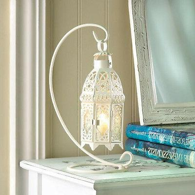White shabby Moroccan hanging Candle holder Lantern outdoor