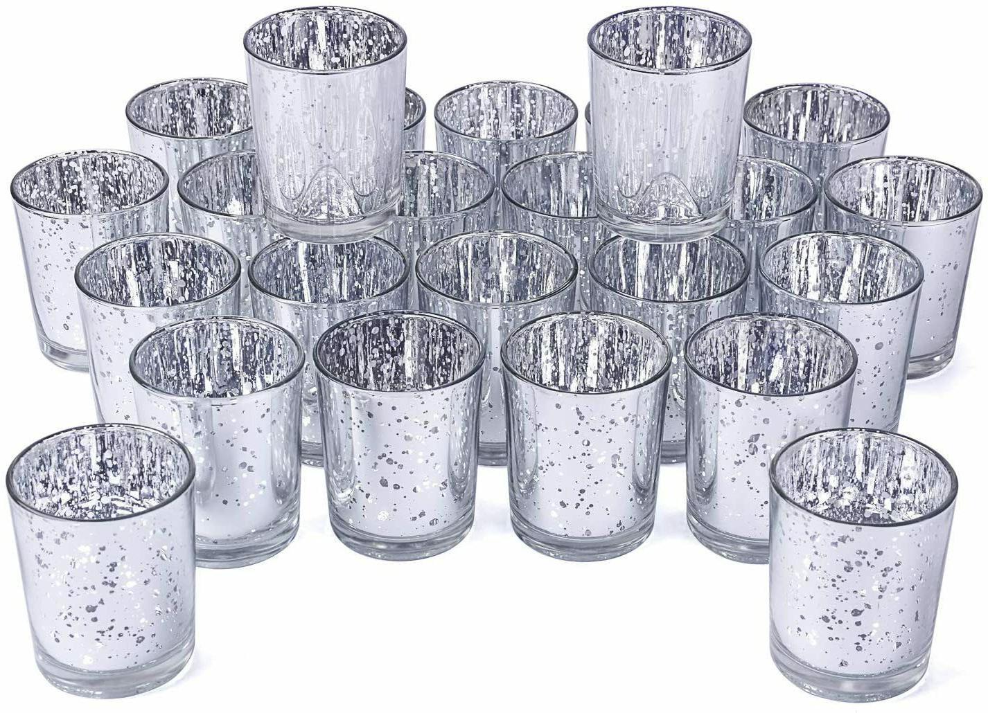 Votive Holder Set Speckled Glass Tealight Candle Hol