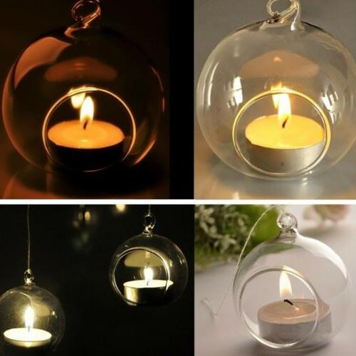 3/6/12/20x Candle Tealight Holder Hanging Glass Candlestick