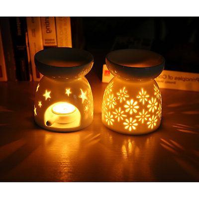 2x White Ceramic Christmas Tealight Light Candle Holder Star