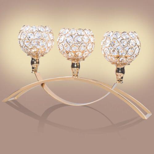 3 Arm Crystal Votive Light Holders Wedding Party