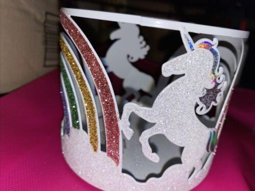 3 wick candle holder glittery unicorn