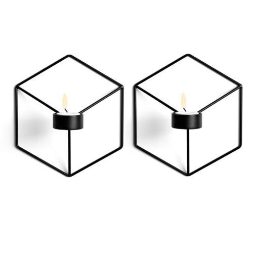 Sziqiqi 3D Geometric Candleholder, Wall-mounted Metal Candle