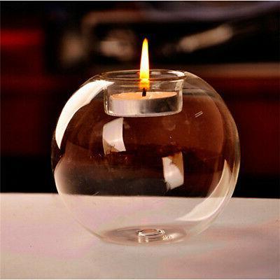4/8Pcs Glass Ball Candle Holder Candlestick Tea Light Stand