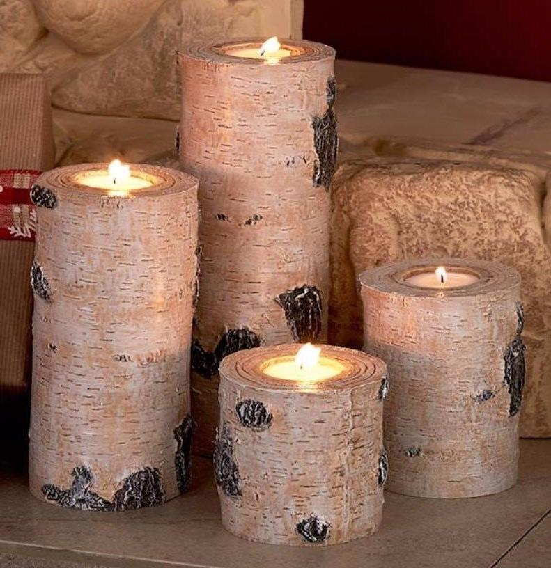 4 New White Birch Candle holders Tree Wood Rustic Lodge Deco