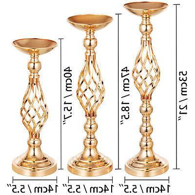 4pcs Holder Set Metal Flower Gold Vase