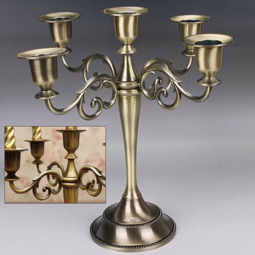 Candlestick Metal Candle Holder 5 Arms Candelabra Alloy Stan