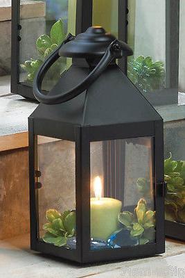 "5 small black 9"" tall Candle holder Lantern Lamp light weddi"