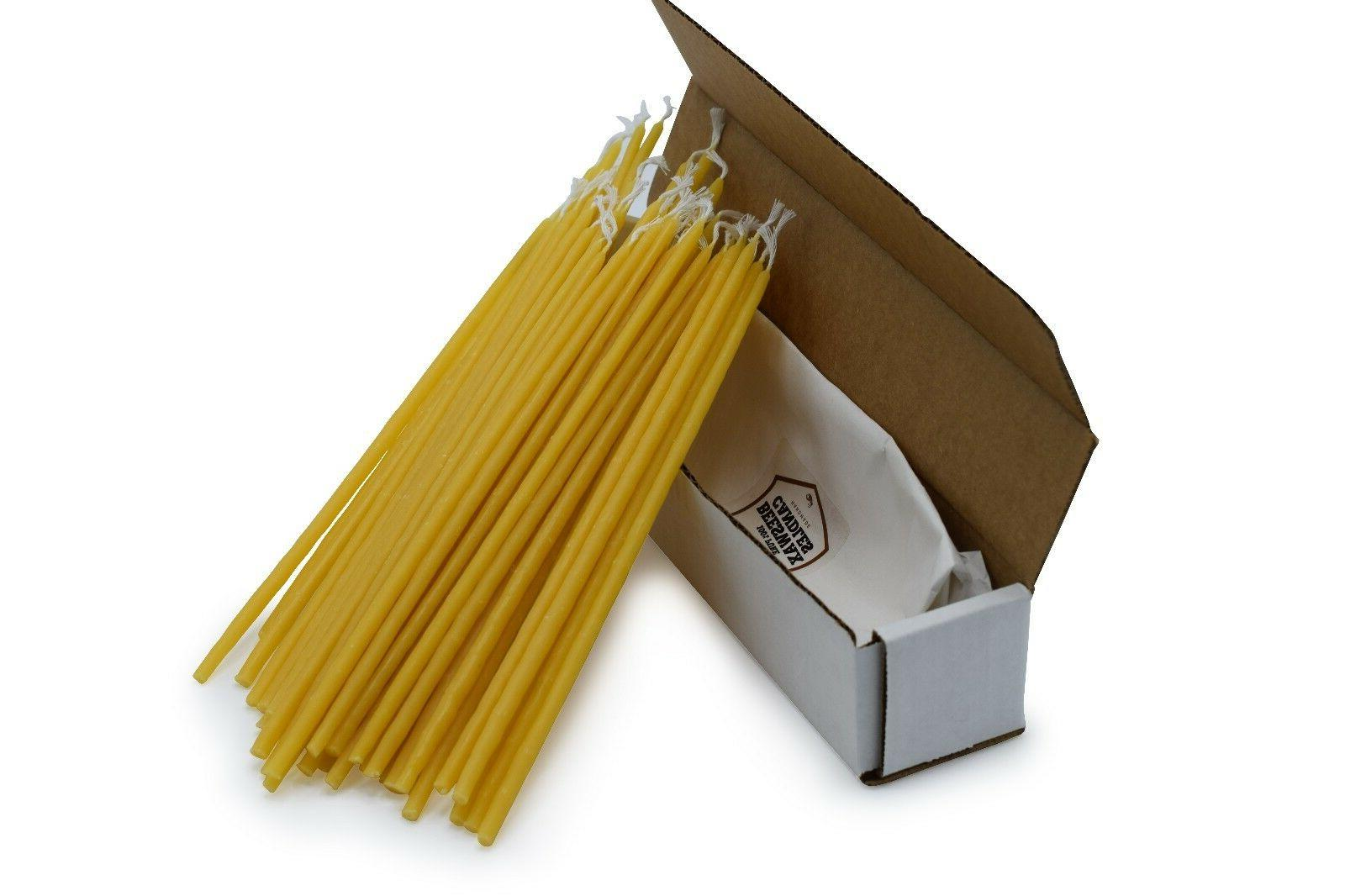 50 Pack Beeswax Taper Candles 100%  Pure Natural Hand Dipped