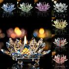 7 Colors Crystal Glass Lotus Flower Candle Tea Light Holder