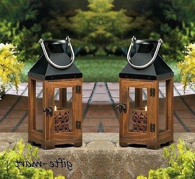 "2 rustic brown wood & metal 13"" Candle holder Lantern light"