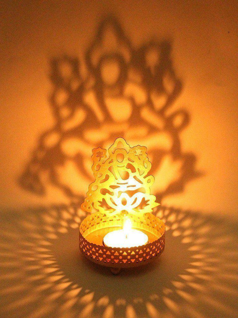 Ambrosial Shadow Lakshmi Metal Diwali Gift Tea Light Candle